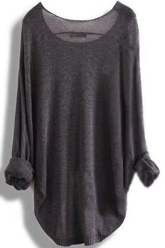 Dark Grey Plain Round Neck Pullover Sweater