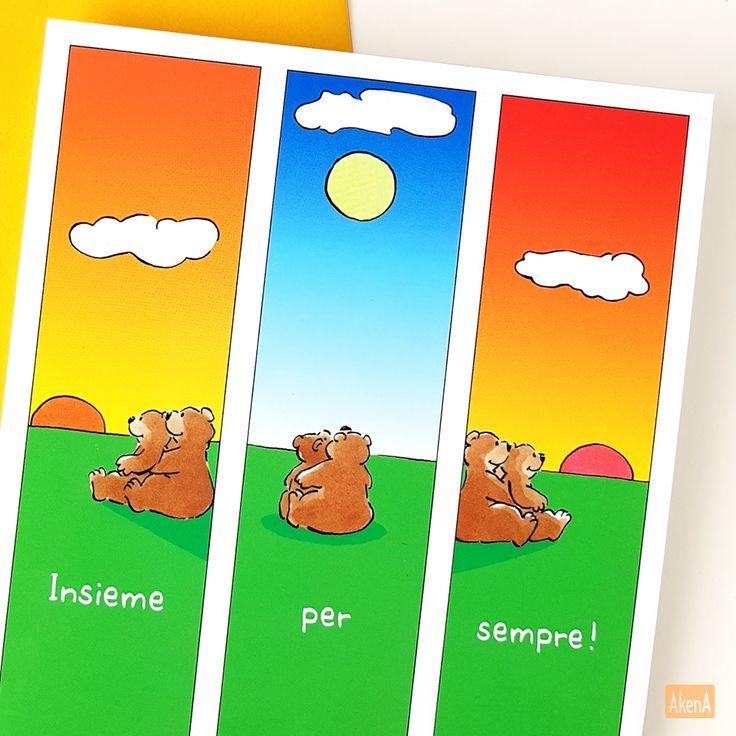 Biglietto per matrimonio o anniversario - Insieme per sempre, una coppia di orsi che guarda il sole sorgere e tramontare - Love card for a weeding, anniversary or just a 'I love you' card