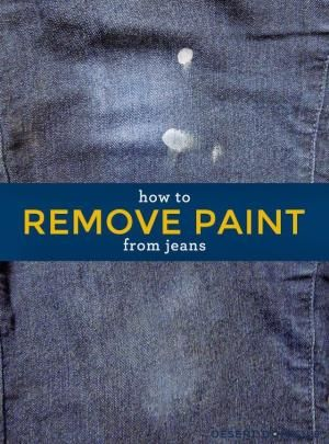 How to Remove Paint From Jeans – No chemicals needed, just some rubbing alcohol and a little elbow grease! #cleaning #tip #paint #jeans by g...