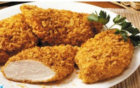 Για το μεσημεριανό τραπέζι: Κοτόπουλο πανέ με τσένταρ Λαχταριστό κοτόπουλο πανέ στο φούρνο με μουστάρδα και τυρί τσένταρ για το μεσημεριανό σας