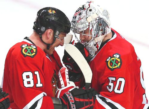 Marian Hossa and Corey Crawford, Chicago Blackhawks