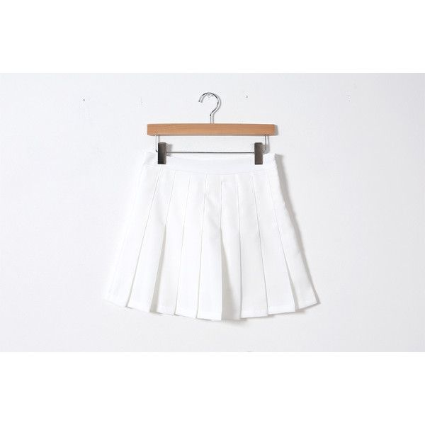 Pleated A-line Mini Skirt ❤ liked on Polyvore featuring skirts, mini skirts, short a line skirt, short skirts, white mini skirt, white pleated skirt and white knit skirt