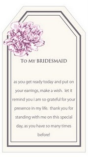 thank you, bridesmaids Add earrings and necklace to card and hang off of hanger top