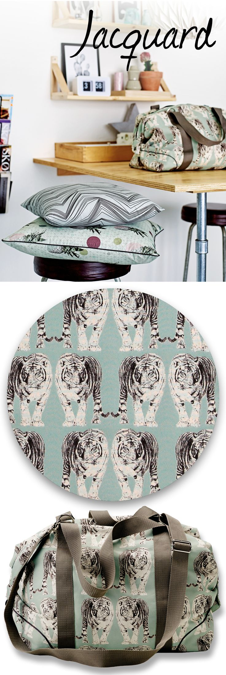 Great ideas for DIY projects using Jacquard. Make for example your own bag. Cool print with white tigers on blue / aqua background. Fabric for DIY projects. STOFF & STIL.
