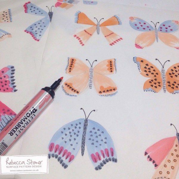 Marker Pen Butterflies by Rebecca Stoner -  Week 2 of my Animal Alphabet #animalalphabet2016 #handdrawnlettering #butterfly #butterflies