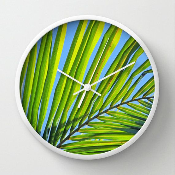 Tropical Wall Clock  Palm Frond Photography  by BeachBumChix, $45.00