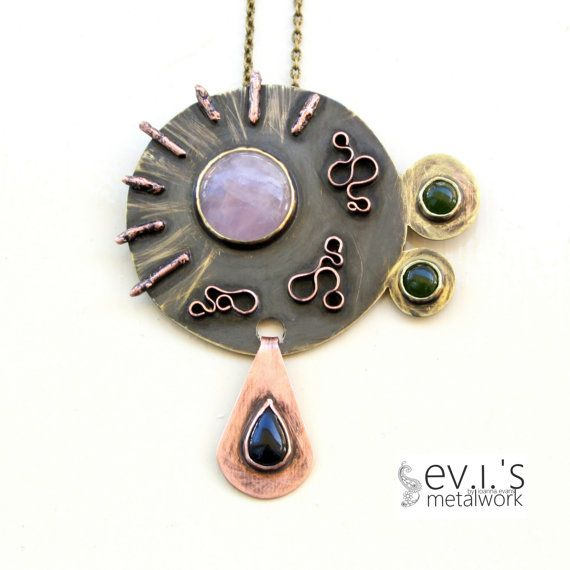 Mix Metal 4 Gemstone Pendant Brass Copper Pink by evismetalwork, €62.00