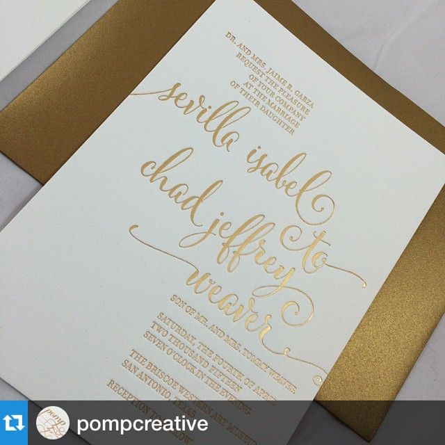 #Repost @pompcreative with @repostapp. Love these invites on our Savoy paper. Great job @pompcreative . #reichpaper #reichsavoy .sent these simple and whimsical #goldfoil #calligraphy wedding invitations to a client. #wedding #weddingdesign #weddinginvitation #weddingstationery #weddinginspiration #reichpaper #reichsavoy #annapolis #annapoliswedding #dc #dcweddings #letterpress