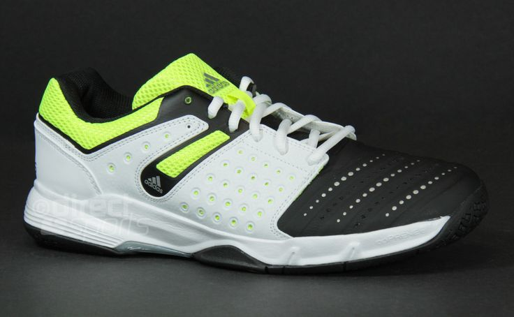 adidas Court Stabil 12 (Core Black-White- Solar Yellow) Court Shoes by directbadminton