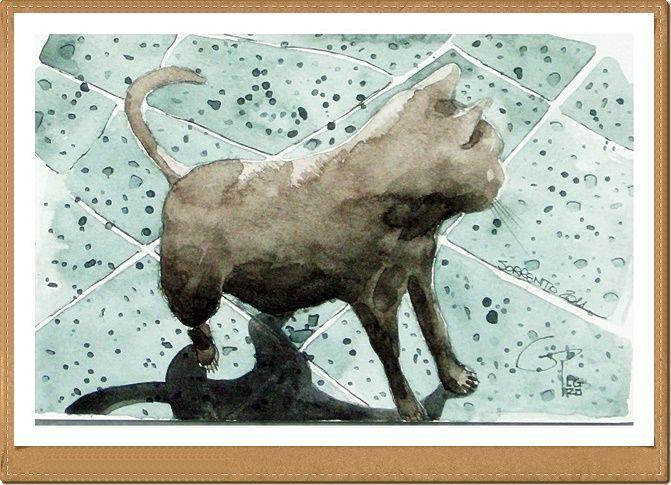 Gatto - Cat - Gianluigi Punzo - Naples - Napoli - Italy - Italia - Watercolor - Acquerello - Aquarelle - Acuarela