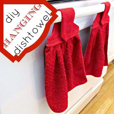 DIY Hanging Dishtowels #sewing #kitchen #decorating #upcycle