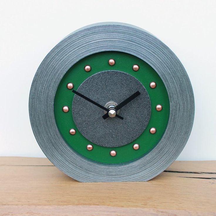 Dark Green Mantel Clock with Copper Studs and Hands