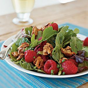 Mesclun with Berries and Sweet Spiced Almonds | MyRecipes.com #myplate #vegetables #fruit