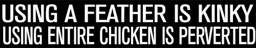 """USING A FEATHER IS KINKY USING THE WHOLE CHICKEN IS PERVERTED"" DECAL STICKER #TheVinylShop"