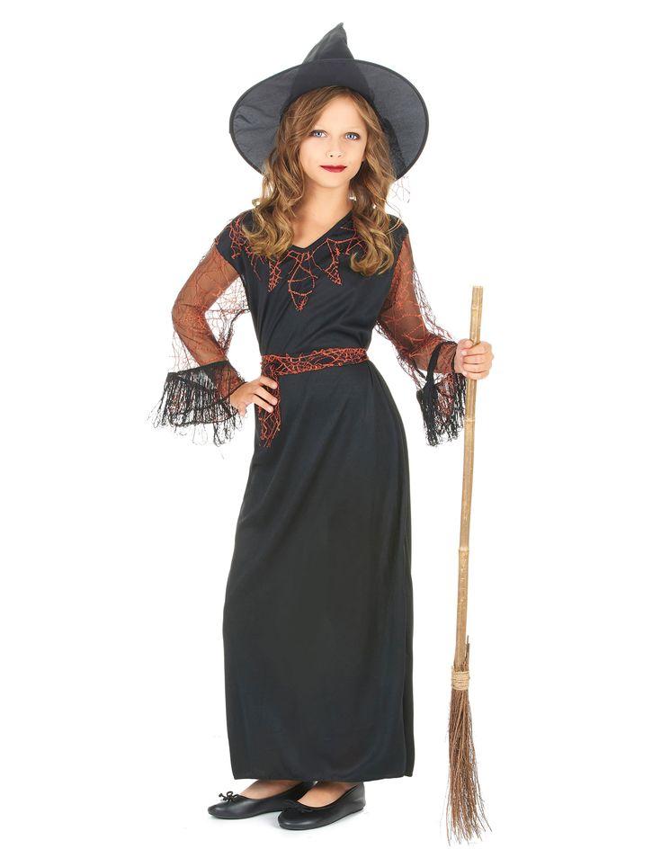 Déguisement sorcière noir fille Halloween : Ce déguisement Halloween de sorcière est composé d'une robe, d'une ceinture et d'un chapeau. (Balais et chaussures non inclus).La robe est longue de couleur noire et...