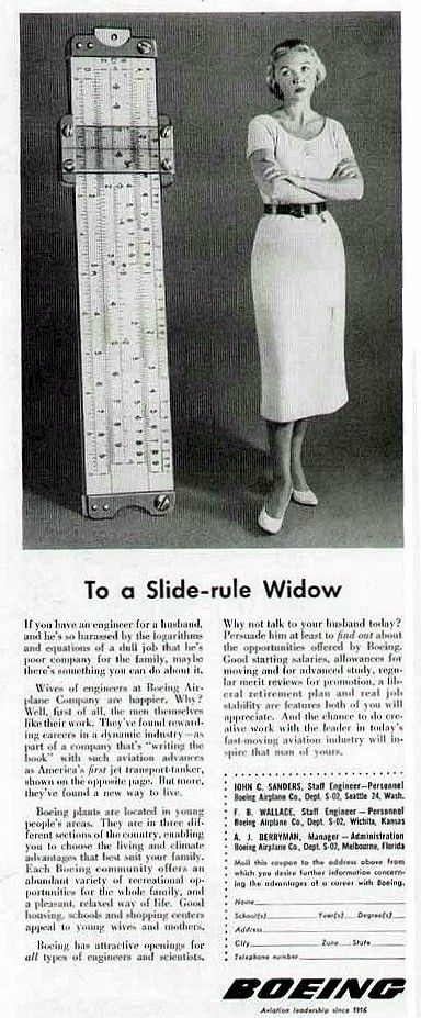 Slide-rule widow - why you should persuade your engineer husband to apply for a job at Boeing!
