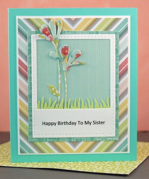 I made this card for my Mom to make my Aunt.  I used the Simon Says Stamp Fresh Daisies die that I seem to use over and over.  The paper is Dear Lizzy 5th & Frolic. The greeting was created on my computer.  For more details on this card go to my blog: http://janamillen.typepad.com/this_little_card_of_mine/2013/02/happy-birthday-to-my-sister-card.html