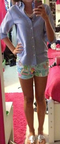 lilly shorts and ralph lauren oxford....obsessed