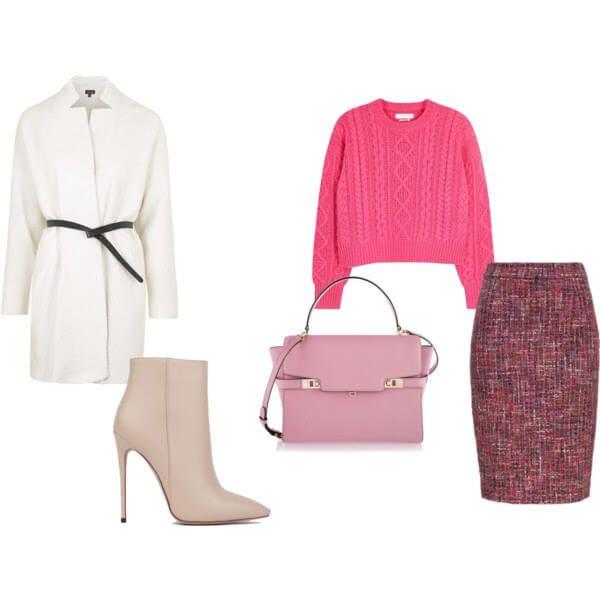 яркий розовый укороченный  свитер, темно-розовая твидовая юбка, белое пальто с черным ремешком