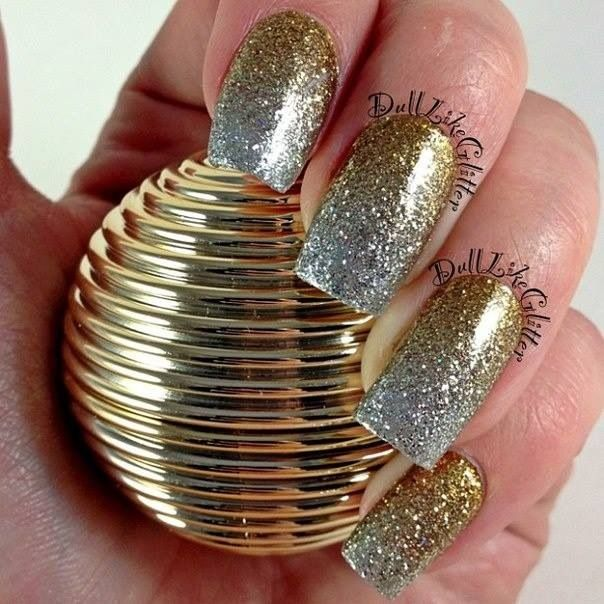 Silver And Gold Glitter Nail Art Design