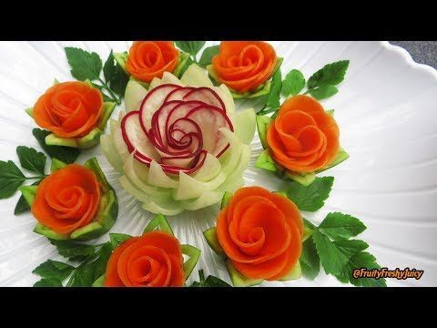 Attractive Garnish of Radish & Carrot Rose Flowers…