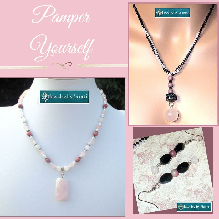 Pretty (and Pampered) in PINK! Follow me on Pinterest to be the first to see new products & sales from Jewelry by Scotti. Check out our products now: https://small.bz/AAcAboY #handmade #jewelry #pinkjewelry #necklaces #earrings