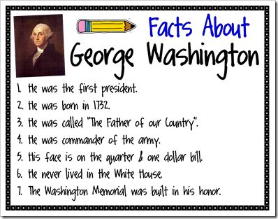 Facts about Abraham Lincoln and Facts about George Washington -  Pinned by @PediaStaff – Please Visit http://ht.ly/63sNt for all our pediatric therapy pins
