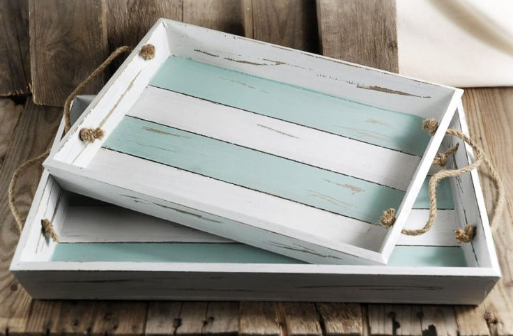 """Portsmouth Crate Trays with Rope Handles 14-1/2"""", 17-3/4"""" (Set of 2)"""