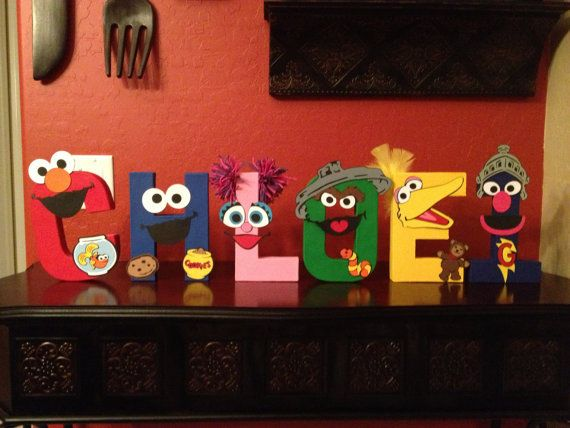 Sesame Street inspired painted letters name Elmo, Cookie Monster, Abby Cadabby, Oscar, Big Bird, Super Grover on Etsy, $20.00