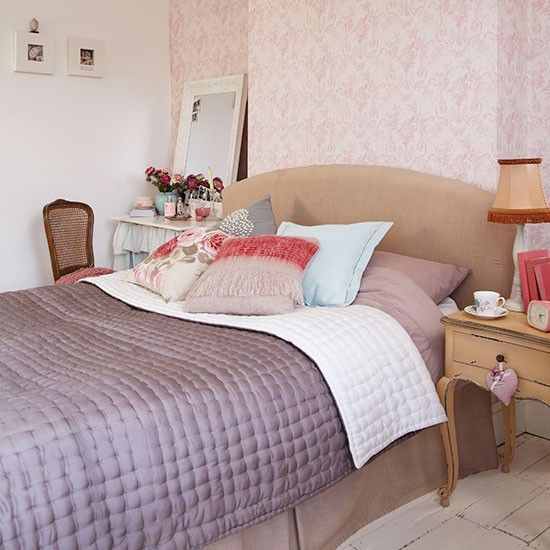 Dusky pink bedroom with floral wallpaper | Decorating | housetohome.co.uk
