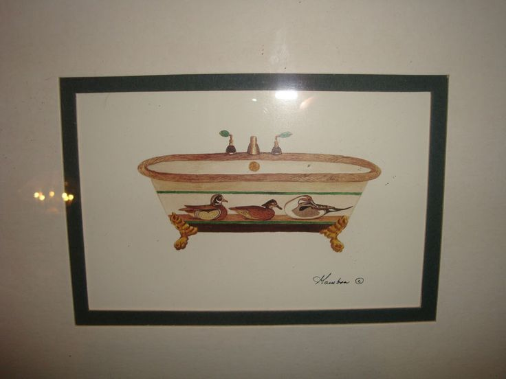 Victorian Bath Tub Print Ducks by Gambon Framed Double Matted