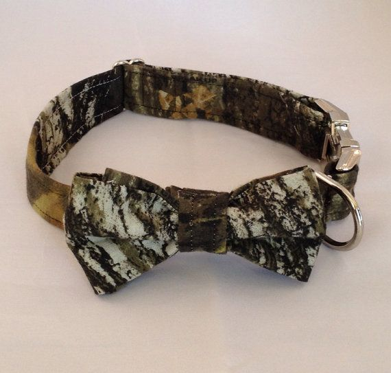 Camo Dog Bow Tie Dog Collar Camouflage Dog Bow by thesouthernpup, $35.00