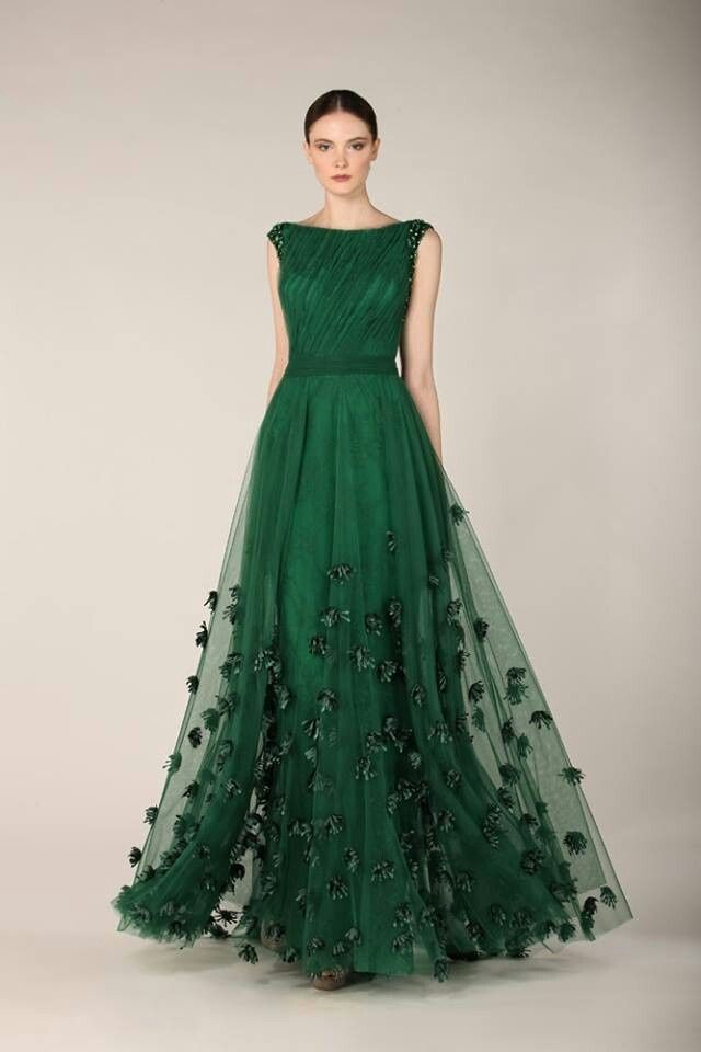 bottle green evening dresses