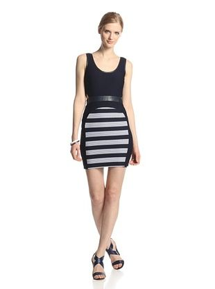 57% OFF LaPINA Women's Cynthia Striped Colorblock Dress (Navy/White)