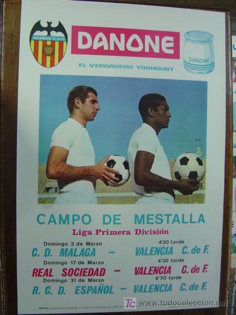 CARTEL DE FUTBOL - LIGA - VALENCIA C.F. - C.D. MALAGA, REAL SOCIEDAD Y R.C.D. ESPAÑOL -MARZO DE 1968 (Coleccionismo Deportivo - Carteles de Fútbol)