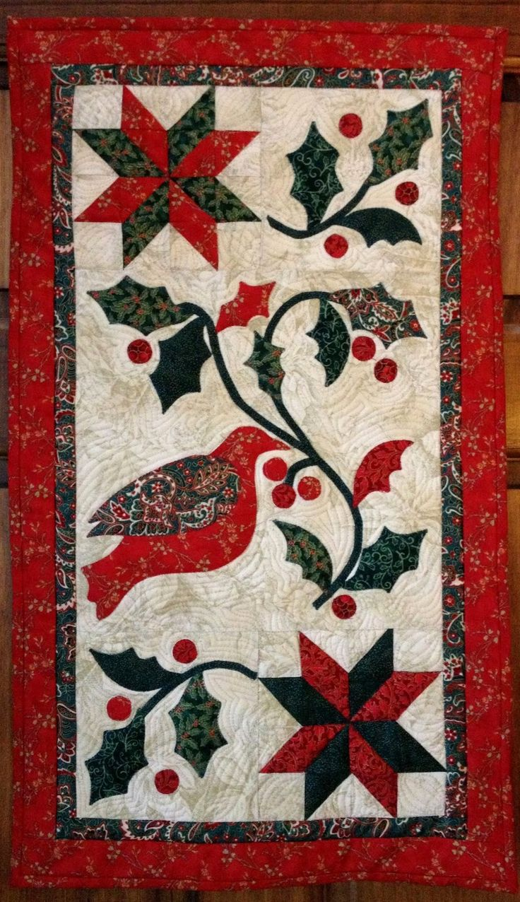 """Quilt by Karen's Quilts, Crows and Cardinals. A variation of """"Winter Holly"""" from Blackbird Designs """"You're Invited"""" book."""