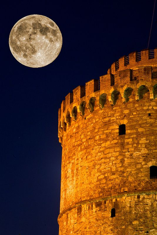 August Full Moon White Tower Thessaloniki Greece