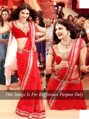 Red Multy Work Net Bollywood Designer Saree By Thankar Bollywood Sarees