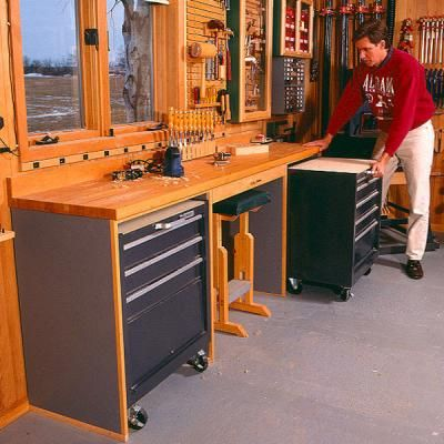 Woodshop Storage Ideas | Space-Saving Workbench Plan ...