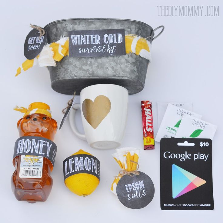 Winter Cold Survival Kit: This makes a great, unique gift! Honey, lemon, gift card, epsom salts, tea cup, tea, cough drops and free printables!