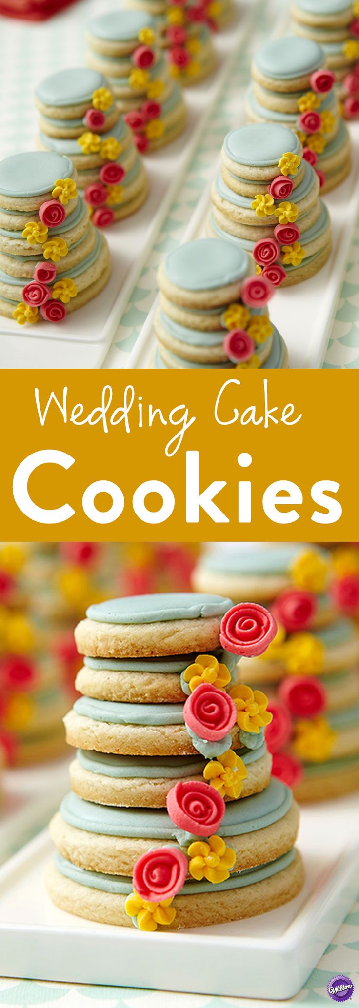How to Make Wedding Cake Cookies - Put a wedding cake on everyone's plate! We've stacked a half-dozen cookies high and decorated them with a cascade of royal icing roses and drop flowers for a beautiful take-home wedding treat.