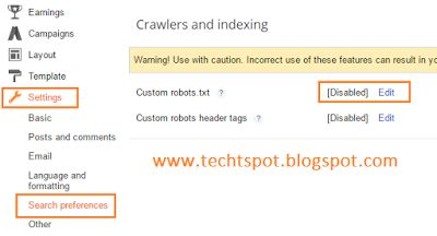 Techtspot: How To Add Custom Robots.txt File In Blogger