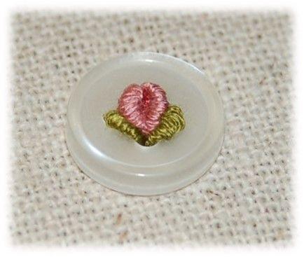 Rose bud bullion flower on 4 hole button