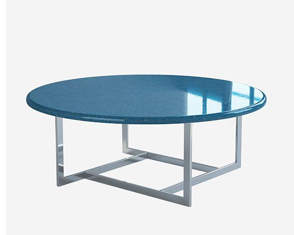 Round glazed lava stone table top.  Blue Petrolio #lavastone #tabletop