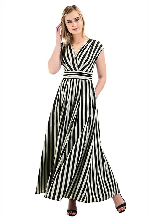 I <3 this Bold stripe crepe surplice maxi dress from eShakti