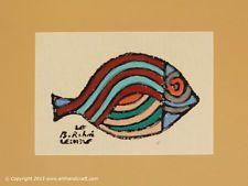 """Bedri Rahmi Eyuboglu """"Sivriburun Fish"""" Block Print on Fabric and Hand Painting"""