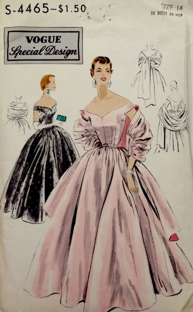 VSD S-4465 Ball Gown Off Shoulder Stole 1953 1Pc dress & stole. A very full skirt is gathered & joins the bodice at waistline.Low off the shoulder neckline, front & back.Tiny cap sleeves cut in one with the bodice.Stole has gathered center section joined to straight ends. Sz14/32/35 6pcs. sld 73+fr 12bds 7/1/15