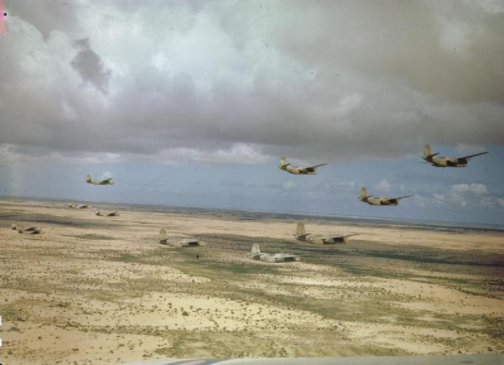 Douglas Boston light bombers of No. 24 Squadron, South African Air Force, flying low over the Tunisian desert, March 1943. Several South African fighter, bomber and reconnaissance squadrons operated during the North African campaign. No. 24 Squadron was the longest serving, having arrived from a deployment in East Africa in May 1941.
