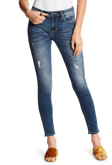 fc6778ffb4b Imbracaminte Femei Miss Me Color Topstitch Skinny Jeans MED BLU #euforiamall