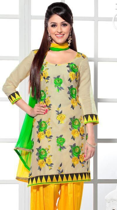 USD 51.18 Brown Silk Punjabi Salwar with Suit 30652